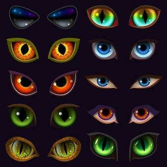 Cartoon occhi diavolo bulbi oculari di bestie o mostri e animali espressioni spaventose con malvagità sopracciglia e ciglia illustrazione set di vampiro vista isolato su sfondo nero