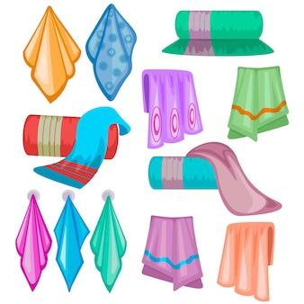 Set asciugamani in tessuto cartone animato. asciugamano in tessuto colorato per cucina o bagno isolato su bianco.