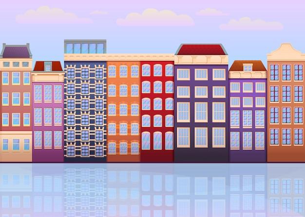 Facciate del fumetto delle case a amsterdam, paesi bassi, illustrazione di vettore