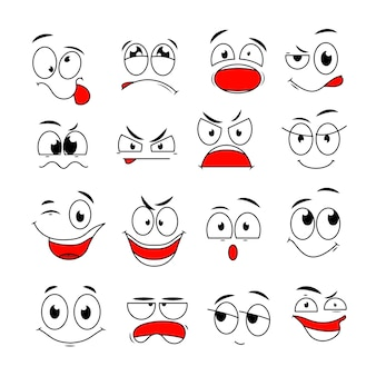 Espressione del viso del fumetto. occhi e bocche comici divertenti con emozioni di sorpresa, felici, tristi e arrabbiate. set di caratteri di doodle. illustrazione sorriso felice ed emozione triste arrabbiata