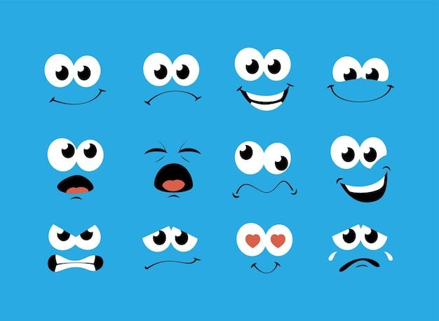 Faccia da cartone animato con set di espressioni diverse vettore premium