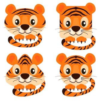 Cartoon affronta tigri carine in diverse forme. set di illustrazioni vettoriali tigri arancioni rotonde, quadrate, triangolari per il design grafico