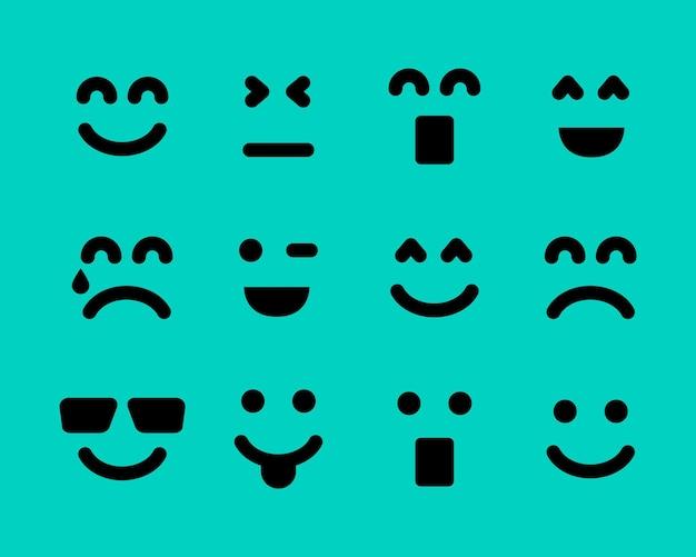 Facce di cartoni animati con emozioni. set di dodici diverse emoticon. illustrazione vettoriale