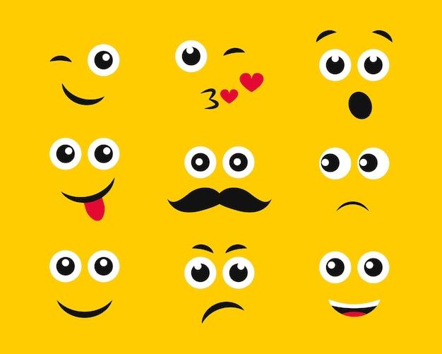 Facce di cartoni animati con emozioni su sfondo giallo. set di nove diverse emoticon. illustrazione vettoriale