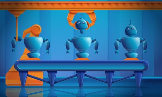 Fabbrica del fumetto che produce i robot del trasportatore, illustrazione