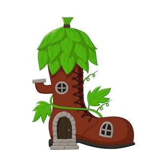 Cartoon fair ytale casa stivali con tetto di foglie