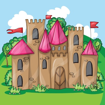 Castello delle fiabe dei cartoni animati - illustrazione vettoriale divertente