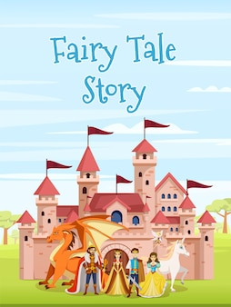 Poster di personaggi delle fiabe dei cartoni animati con titolo della storia delle fiabe e un grande castello