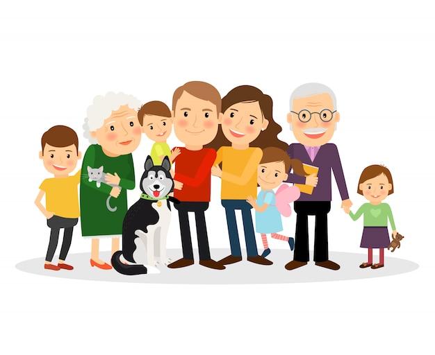 Ritratto di famiglia dei cartoni animati