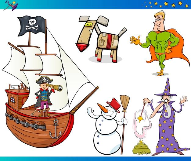 Set di personaggi di fantasia dei cartoni animati