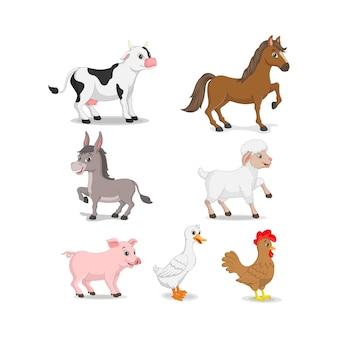 Collezione di animali da fattoria dei cartoni animati