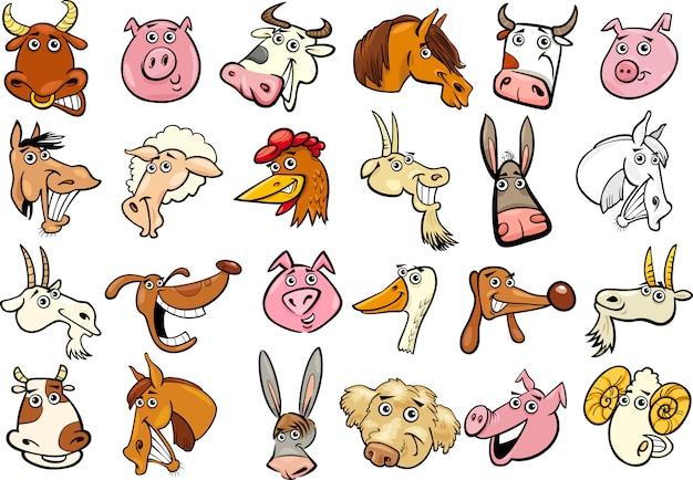 Set di teste di animali da fattoria del fumetto
