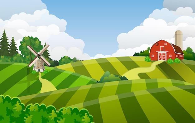 Campo di semina verde del campo di fattoria dei cartoni animati, granaio rosso su un campo di agricoltori verdi farmers