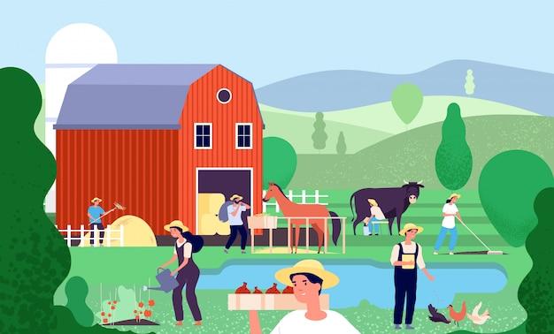 Fattoria di cartone animato con agricoltori. i lavoratori agricoli lavorano con animali da fattoria e attrezzature in scena rurale