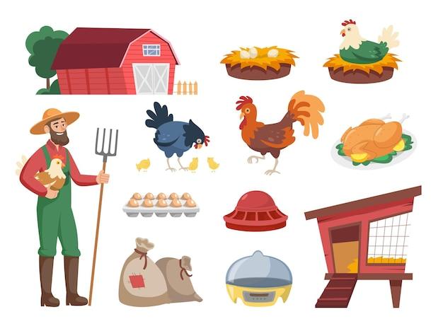 Contadino di cartoni animati con set di illustrazioni di galline e attrezzature