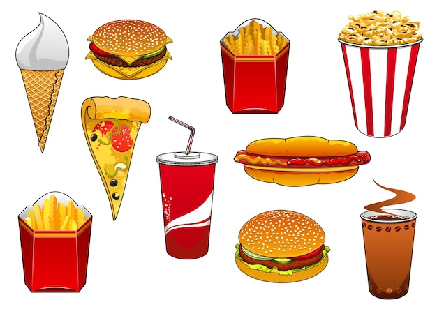 Cartoon fast food hamburger e cheeseburger, hot dog, fetta di pizza, patatine fritte e popcorn in scatole da asporto