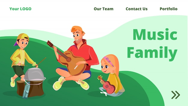 Cartoon father daughter son musical instruments