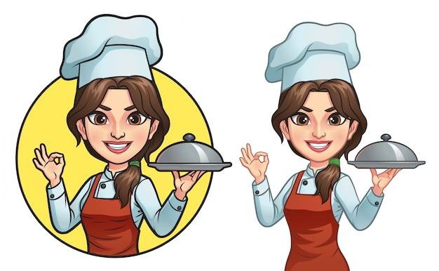 Chef femminile dei cartoni animati Vettore Premium