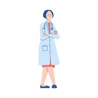 Medico femminile del fumetto in uniforme medica con lo stetoscopio