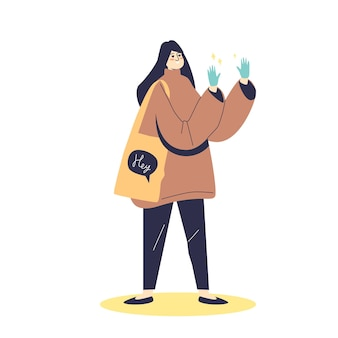 Cartoon femmina indossando maschera medica e guanti di gomma