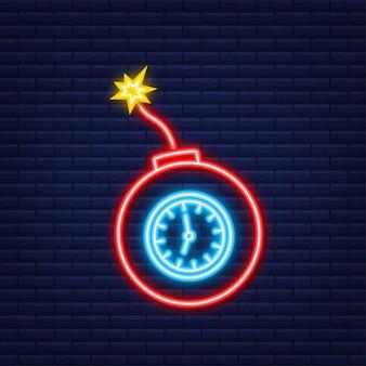 Fiamma del fuoco del fumetto. icona di vettore piatto. concetto di danno. bomba piatta per il concept design. icona al neon. illustrazione di riserva di vettore.