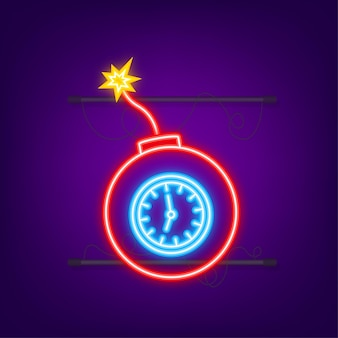 Fiamma di fuoco dei cartoni animati icona vettoriale piatta concetto di danno bomba piatta per il concept design icona al neon