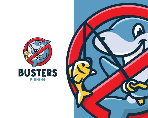 Modello di logo di fish busters dei cartoni animati
