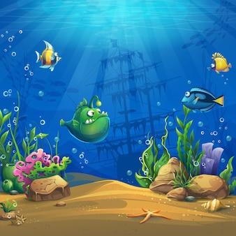 Pesce del fumetto nel mondo sottomarino. marine life landscape con diversi abitanti.
