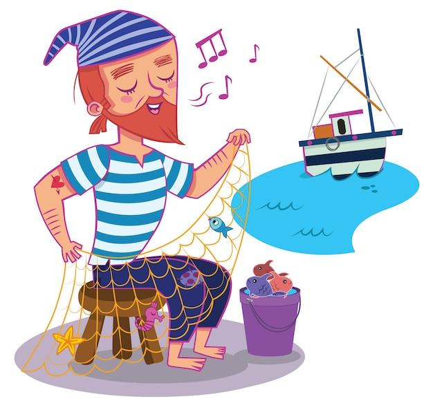 Illustrazione di vettore del carattere del pescatore dei cartoni animati