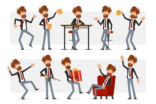 Carattere dell'uomo d'affari barbuto piatto del fumetto in vestito nero e cravatta rossa. ragazzo che trasporta il regalo del nuovo anno, che tiene la birra e che mostra il segno giusto.