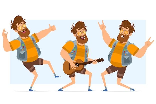 Personaggio di uomo piatto hipster grasso barbuto del fumetto in farsetto di jeans e occhiali da sole. pronto per l'animazione. ragazzo che suona la chitarra, balla, mostra rock and roll. isolato su sfondo blu.