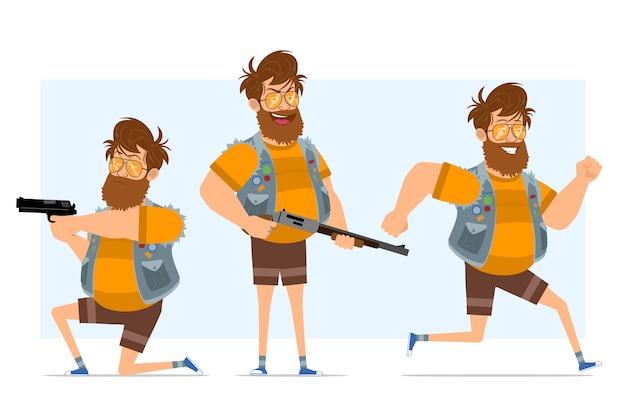 Personaggio di uomo piatto hipster grasso barbuto del fumetto in farsetto di jeans e occhiali da sole. pronto per l'animazione. ragazzo che corre e spara da fucile e pistola. isolato su sfondo blu.