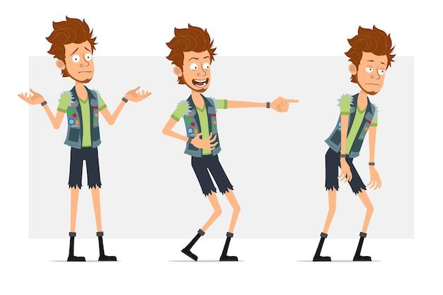 Personaggio di uomo piatto hipster barbuto del fumetto in pantaloncini di jeans e farsetto