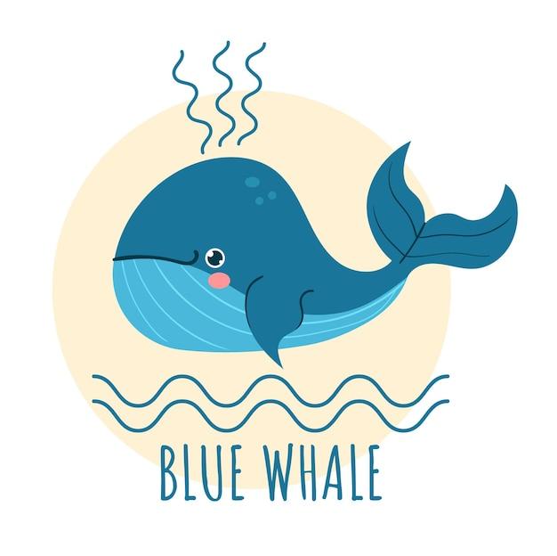 Illustrazione piatta del logo della balena blu del fumetto