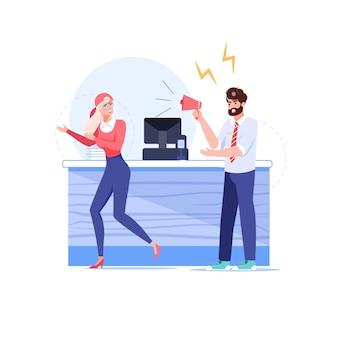 Cartone animato boss piatto manager, personaggi di impiegato nella scena del conflitto di lavoro.