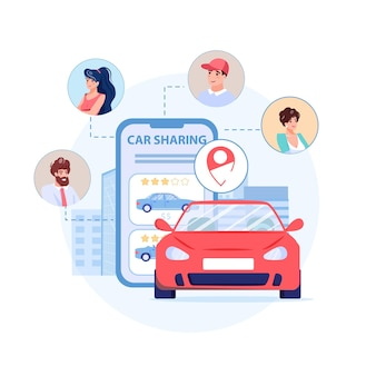Gli avatar di personaggi piatti dei cartoni animati usano il servizio di car sharing: volti sorridenti di persone felici