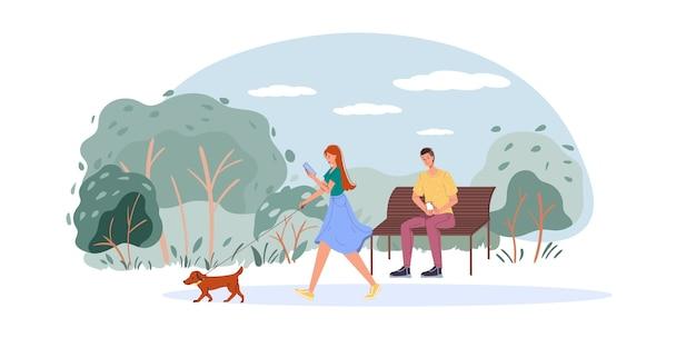 Personaggi dei cartoni animati piatti navigare in internet all'aperto