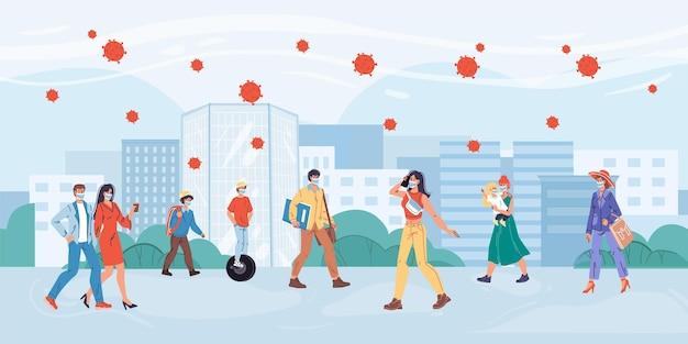 Personaggi piatti dei cartoni animati sulla passeggiata nel tempo della pandemia.