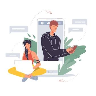 Personaggi piatti dei cartoni animati che scrivono messaggi
