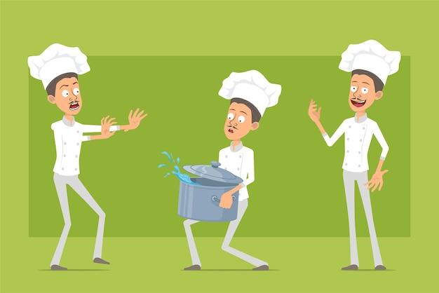 Cartoon piatto chef cuoco personaggio uomo in uniforme bianca e cappello da panettiere. uomo che porta stufato pentola con acqua e mostrando il segnale di stop.