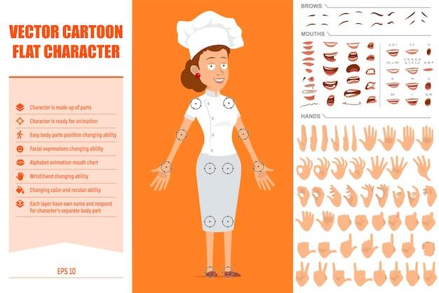 Cartoon piatto chef cuoco personaggio donna in uniforme bianca e cappello da panettiere. espressioni del viso, occhi, sopracciglia, bocca e mani.