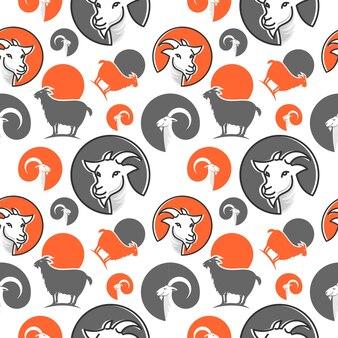 Fondo senza cuciture animale del modello della testa della capra di colore piatto del fumetto