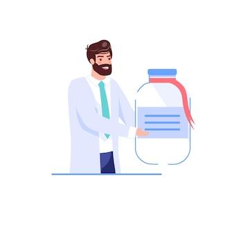 Personaggio dei cartoni animati piatto medico offre, presenta farmaci farmaci