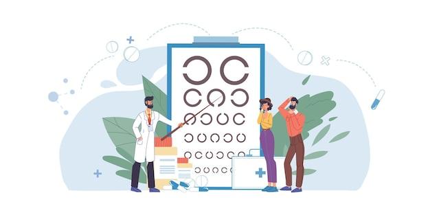 Cartoon piatto medico e paziente caratteri appuntamento test di acuità visiva