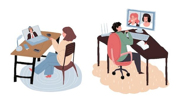 Personaggi dei cartoni animati piatto libero professionista parlano online con i colleghi, capo.