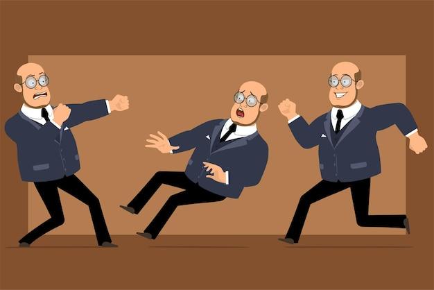 Carattere dell'uomo del professore calvo piatto divertente del fumetto in abito scuro e occhiali. ragazzo che combatte, corre e cade.