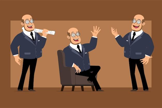 Carattere dell'uomo del professore calvo piatto divertente del fumetto in abito scuro e occhiali. ragazzo che tiene il giornale e che mostra ciao gesto.