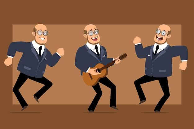 Carattere dell'uomo del professore calvo piatto divertente del fumetto in abito scuro e occhiali. ragazzo che salta, balla e suona la chitarra.