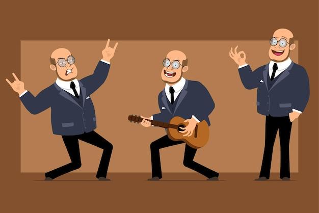 Carattere dell'uomo del professore calvo piatto divertente del fumetto in abito scuro e occhiali. ragazzo che gioca alla chitarra e che mostra il segno del rock and roll.