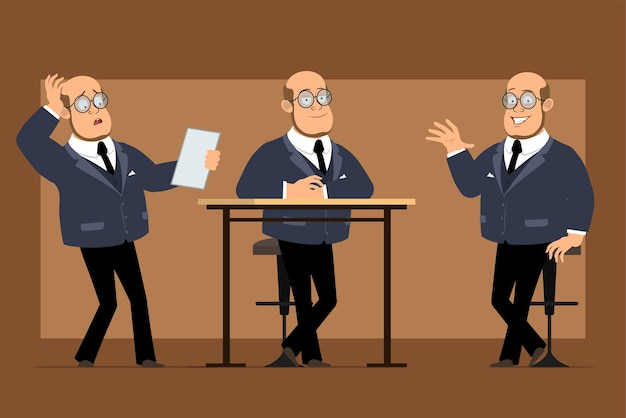 Carattere dell'uomo del professore calvo piatto divertente del fumetto in abito scuro e occhiali. ragazzo in posa, leggere la nota e mostrare il segno ciao.